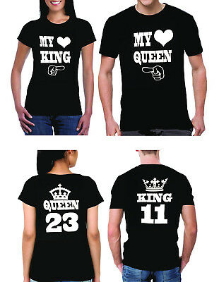 My King/My Queen couple mathing T-Shirts, custom numbers, couple, gift