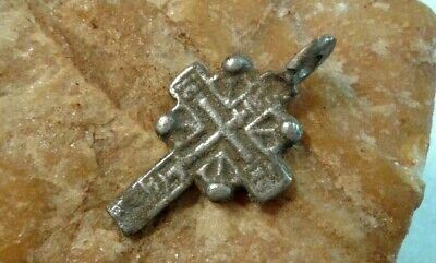 """ANTIQUE c.16-18th CENTURY SMALL SOLID SILVER """"OLD BELIEVERS"""" ORTHODOX CROSS"""