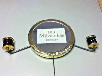 Old Milwaukee beer sign lighted reverse glass mirror nautical light ship boat