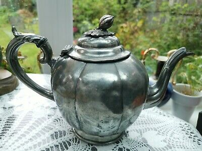 Antique Circa 1880's Silver Plated Tea Pot Ornate Finial by James Deakin & Sons