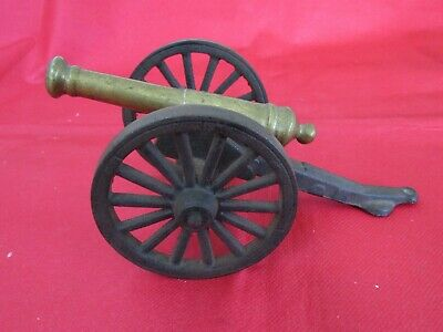 Large Vintage Model of a 19th C. Brass Cannon on Two Wheeled Cast Iron Carriage