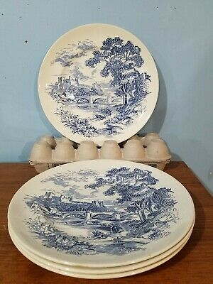 """CHINA: ENOCH Wedgwood England COUNTRYSIDE: 10"""" DINNER PLATES, SET OF 4 blue/wht"""