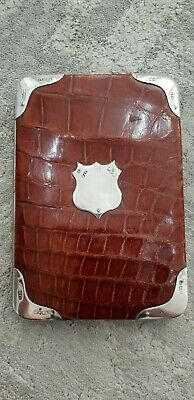 Solid Silver & Crocodile Antique Leather Wallet London 1903