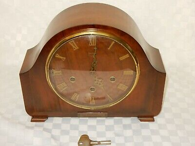 Vintage Smiths Westminster Chime Mahogany Mantel Clock in Working Order