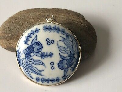VINTAGE CHINESE JAPANESE ASIAN BLUE WHITE PORCELAIN PENDANT -ESTATE FIND! Ming?