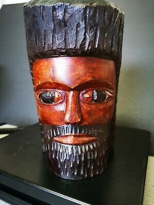 Vtg Hand Carved Solid Wood Tribal Double Head Bust Folk Art