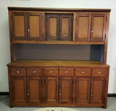 Antique 6.5ft Apothecary Back Bar Cabinet Pharmacy 2 Piece Farmhouse Cupboard