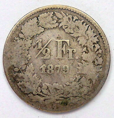 Switzerland 1879 B 1/2 Franc G-VG ** Very SCARCE Date KEY Helvetia SILVER Coin