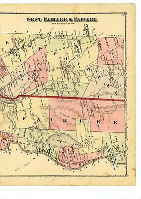 Antique 1877 map of West Fairlee and Fairlee Vermont from Atlas of Orange County