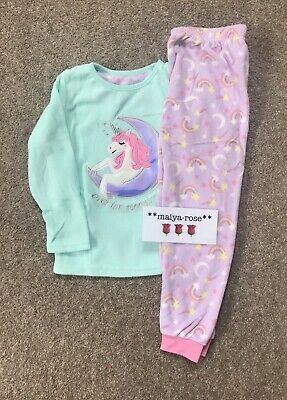 Primark Girls Unicorn Moon Rainbow Soft Fleece Pyjamas Loungewear Age 2-15 Years