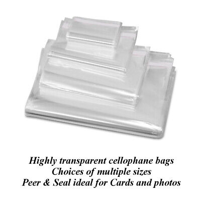 "CLEAR Card Display Bags Self Adhesive Cello Bag C4 C5 C6 C7 5""X5"" Peel & Seal"