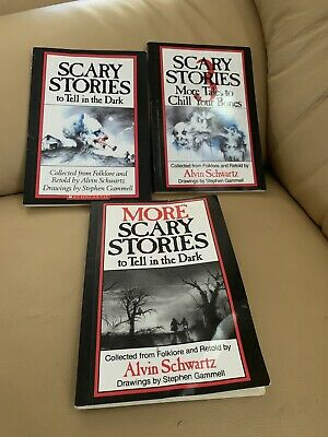 Lot 3 SCARY STORIES TO TELL IN THE DARK Books by Alvin Schwartz & Gammell