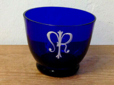 ANTIQUE <> SMALL BRISTOL GLASS 'CUP'  with HAND PAINTED ENAMEL MONOGRAM