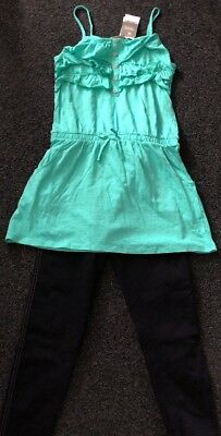 Girls Next  Green Dress & George Jeggings Set Aged 11-12 Years BNWT