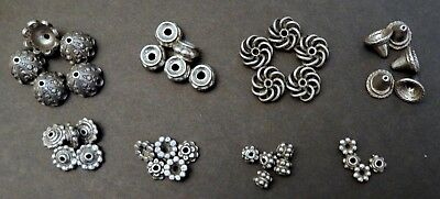 Assortment of Bead Caps and Spacers / Pewter /Mixed Sizes