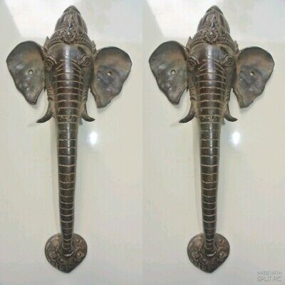 "2 Ganesha Elephant DOOR pair pull handle 12"" long solid BRASS trunk tusks aged B"