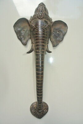 "Ganesha Elephant DOOR pair pull handle 12"" long solid BRASS trunk tusks aged B"