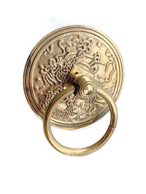 RING PULL vintage old look handle solid brass heavy aged style DOOR 11cm bolt B