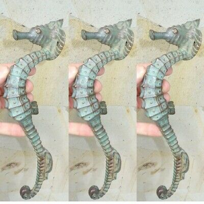 "3 small SEAHORSE solid brass door AGED GREEN old style house PULL handle 10"" B"