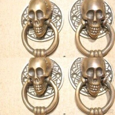 4 small SKULL head ring pull Handle cast BRASS day of the dead cabinet door 5cmB