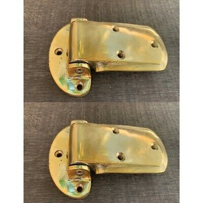"2 large ICE BOX POLISHED hinges vintage style solid Brass heavy offset  4"" B"