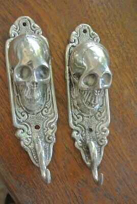 "2 small silver plated SKULL HOOKS BRASS old vintage style antique 6 "" long B"