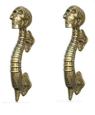 "2 small SKULL handle DOOR PULL spine BRASS old vintage style Polished 8 "" B"