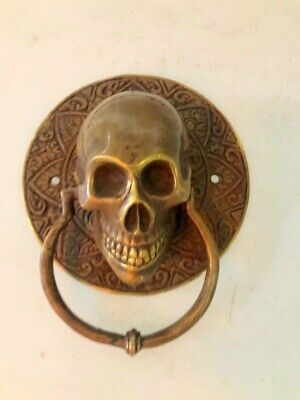 "SKULL handle KNOCKER PULL solid BRASS aged old style DOOR amazing 5"" B"