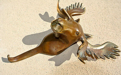 "small MOOSE COAT HOOK solid age brass antiques vintage old style 7"" hook heavy B"
