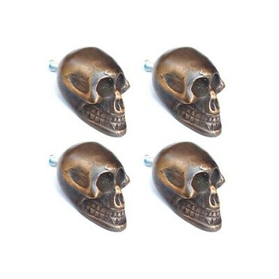 "4 small Skull hardware cabinet Drawer 2cm Gothic Finger Pull Solid Brass 1.3/4""B"