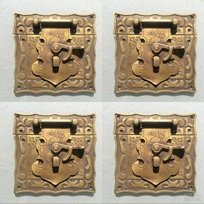 "4 x box Latch catch solid brass furniture antiques doors kitchen old style 3 "" B"
