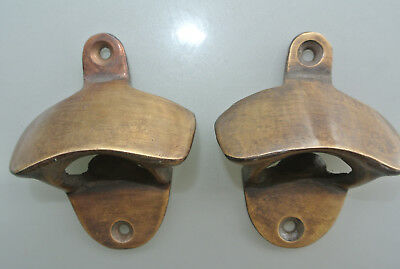 2 x PLAIN  Bottle Opener solid brass works AGED  finish screws included heavy B