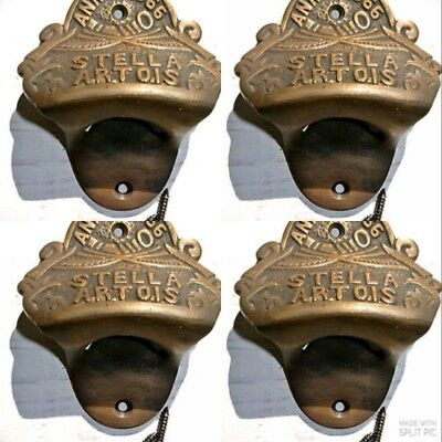 4 STELLA ARTOIS beer Bottle Opener brass AGED  finish screws included heavy B
