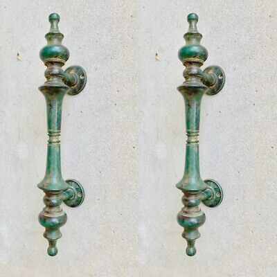 "2 large DOOR handle pull solid real 2 SPUN 100% brass antique green12 "" B"
