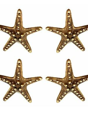4 small STAR FISH solid BRASS knobs TROPICAL VINTAGE old style 70 mm B