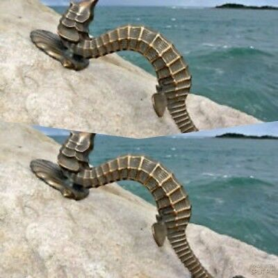 "2 large SEAHORSE solid brass door old style house PULL handle 13"" heavy aged B"