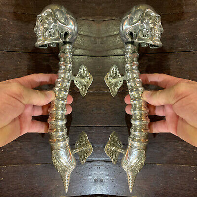 "2 amazing SKULL handle DOOR PULL spine BRASS old style SILVER plated 13"" long B"