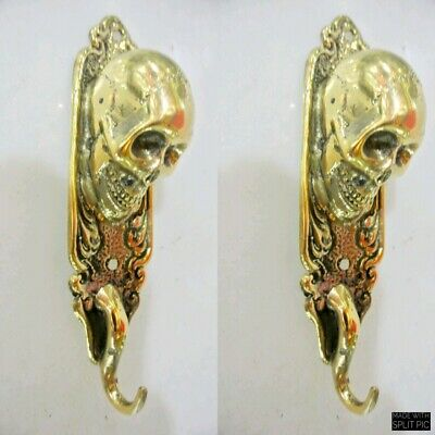 "2 small polished SKULL HOOKS BRASS old vintage style antique 6 "" long B"
