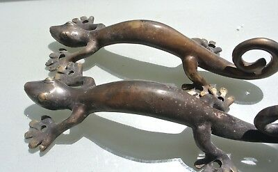 2  aged small GECKO solid brass door antique old style PULLS handle 22cm knobs B