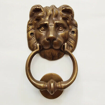 "LION head heavy front Door Knocker SOLID 100% BRASS vintage old style house 7"" B"