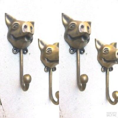 "4 heavy PIG HOOK WALL MOUNTED COAT old style BAG ANIMAL 6"" HANGER B"