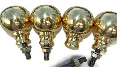 "BED KNOBS 4 solid Brass small 2.1/4"" high old style COT heavy vintage polished B"
