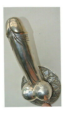 "small SILVER penis DOOR PULL HOOK  hollow heavy brass 7 "" handle hand made B"