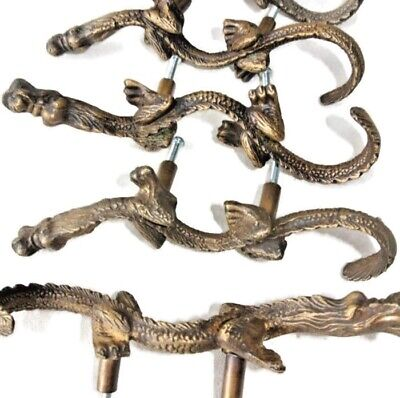 """4 Handles door DRAGON solid BRASS old style vintage L& R drawer PULLS 6"""" heavy B"""