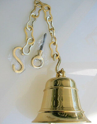 Large Front Door school Bell chain POLISHED brass 17 cm old style heavy hang  B