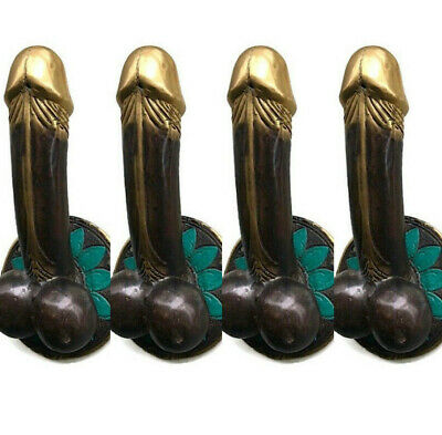 "4 PENIS shape DOOR PULL or HOOK hand made solid brass 9 "" handle heavy pair B"