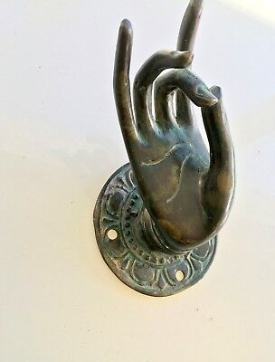 BUDDHA Pull handle hand brass age green patina door old style knob hook 7cm B