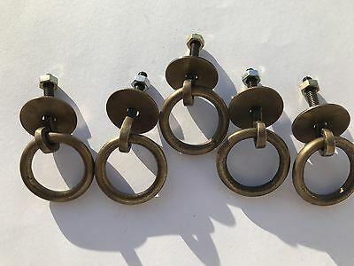 "5 small round door handle KNOB aged old Brass PULL ring kitchen 1.1/2"" heavy B"
