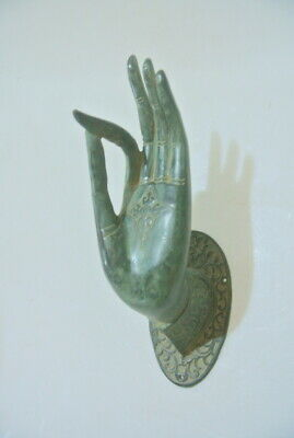 BUDDHA DOOR handle solid aged green brass antique old style HAND fingers 20cm B