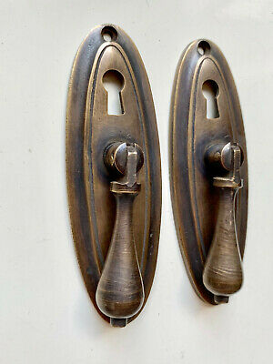 "2 oval drop Pull knob pulls handles 4"" brass door key hole vintage old style B"